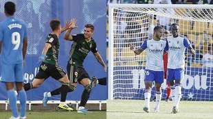 Larrea celebra con con Kaxe y Luis Suárez con Dwamena los goles de...