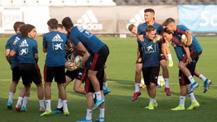 Entrenamiento de la selección sub 21 en Castellón.