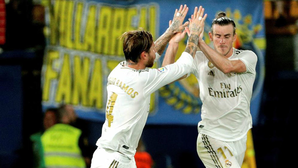 Ramos and Bale celebrate the Welshman's goal at Villarreal.