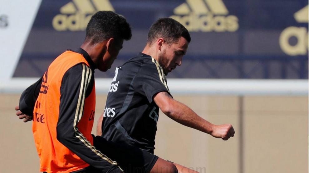 Hazard was back on training field at Valdebebas