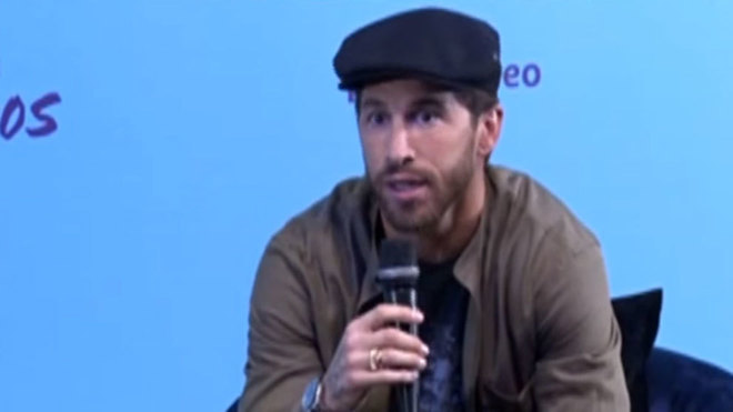 Sergio Ramos during the presentation of his documentary