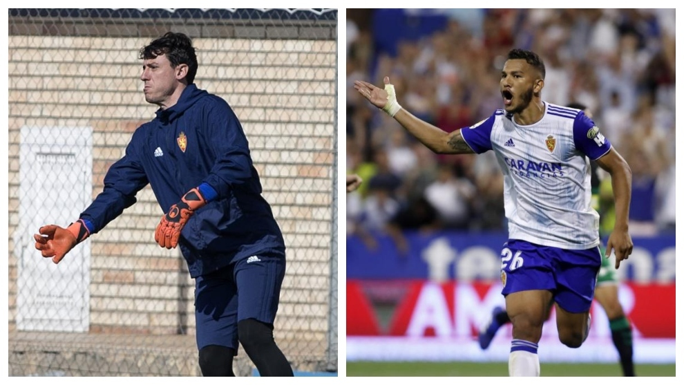 Cristian Álvarez, a la izquierda, y Luis Suárez, a la derecha.