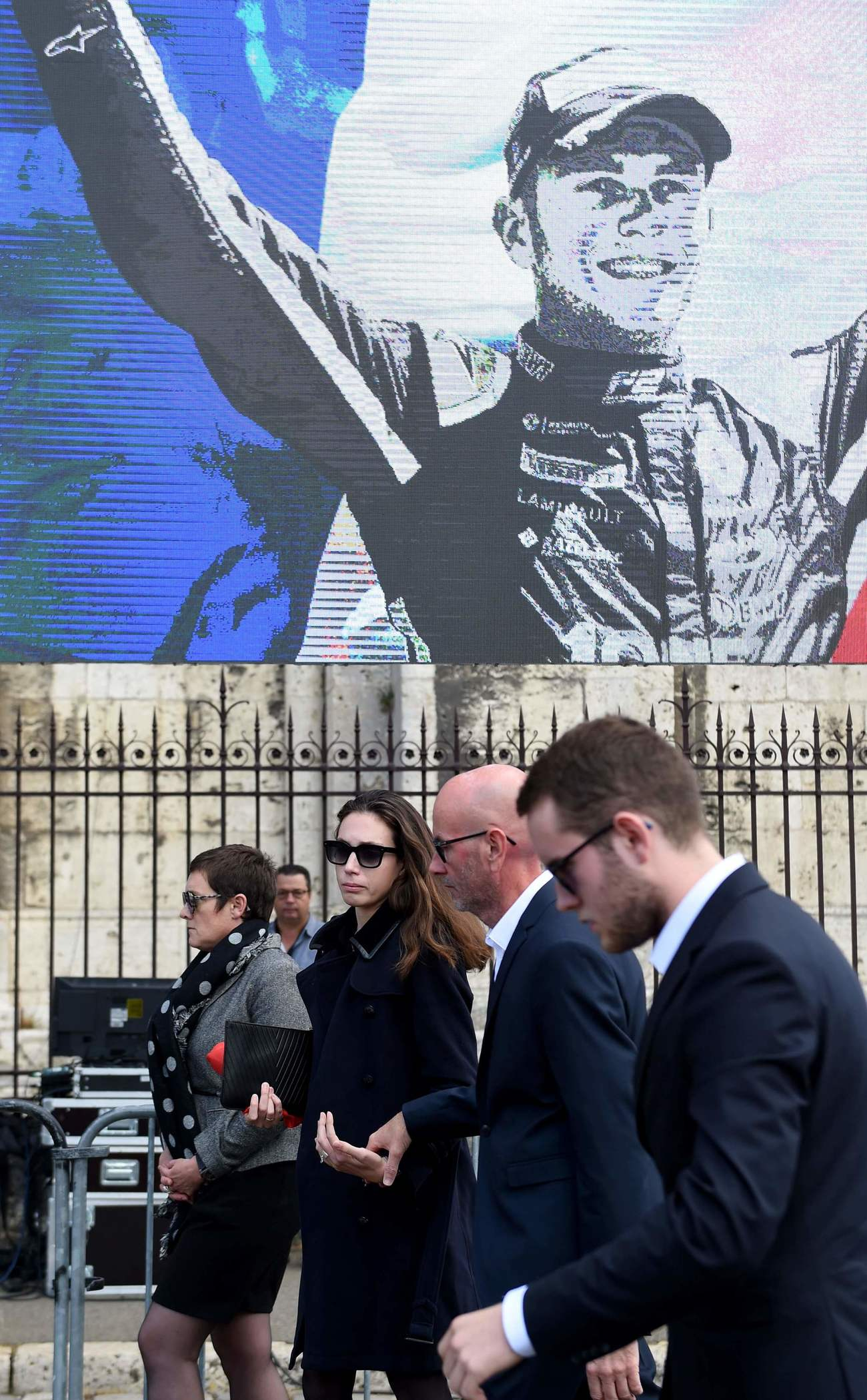 ( From L ) Late French racing driver Anthoine Hubert's relatives mother, Julie girlfriend, Francois father and Victhor brother, arrives for the funeral at the Cathedral of Notre Dame , in Chartres, on September 10, 2019. - The 22-year-old F2 driver was killed on August 31, 2019 in a crash on the Spa-Francorchamps circuit. (Photo by JEAN-FRANCOIS MONIER / AFP)