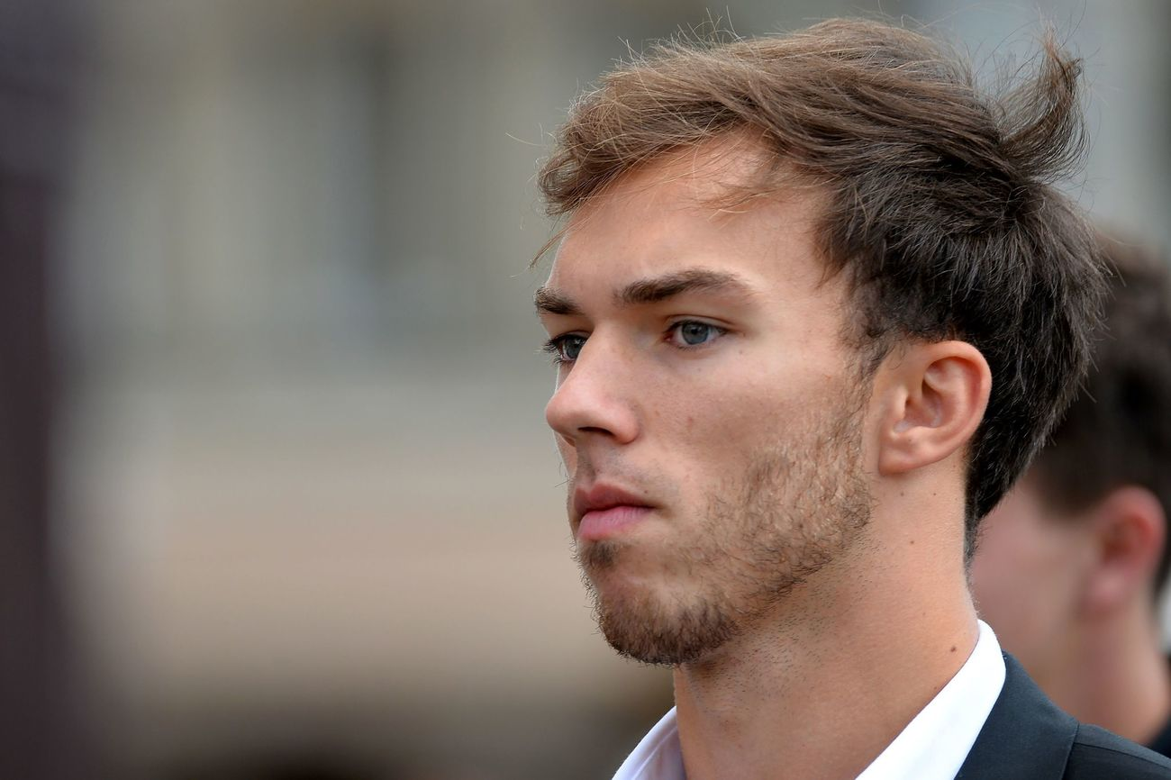 Toro Rosso's French driver Pierre Gasly arrives to attend the funeral of late French racing driver Anthoine Hubert into Chartres' cathedral, on September 10, 2019. - The 22-year-old F2 driver was killed on August 31, 2019 in a crash on the Spa-Francorchamps circuit. (Photo by JEAN-FRANCOIS MONIER / AFP)