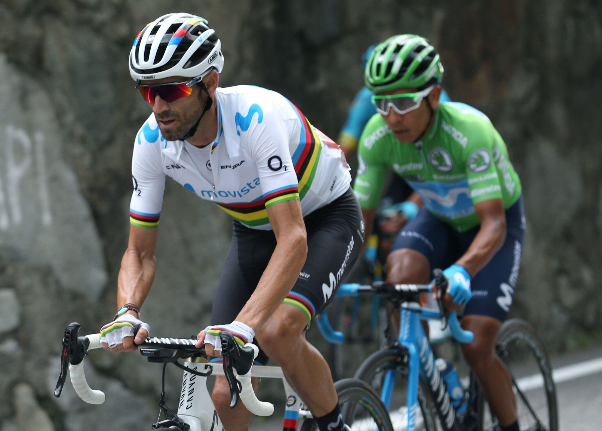 GRAF4716. ANDORRA, 01/09/2019.- Los ciclistas del equipo Movistar, el colombiano Nairo Quintana (d) y el español <HIT>Alejandro</HIT><HIT>Valverde</HIT>, durante la novena etapa de la 74 Vuelta a España 2019, con salida en la localidad de Andorra La Vella y meta en Cortals D Encamp, y un recorrido de 94,4 kilómetros. El esloveno Tadej Pogacar (UAE Emirates), de 20 años, fue el vencedor de la novena etapa de la Vuelta, en la que el colombiano Nairo Quintana se enfundó el maillot rojo de líder. EFE/ Javier Lizón