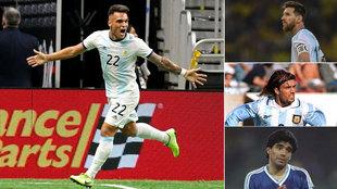 Lautaro Martínez, Messi, Batistuta y Maradona.