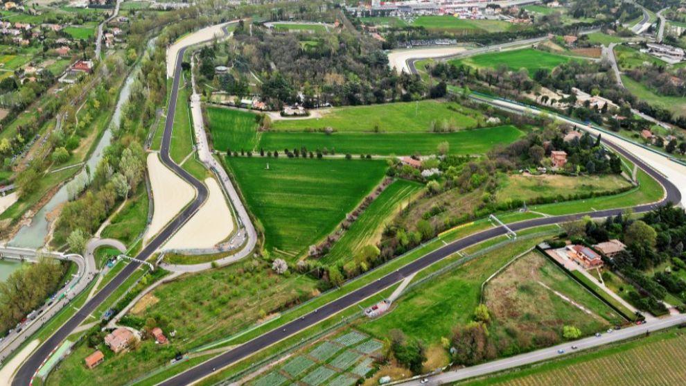 Vista aérea del circuito de Imola.