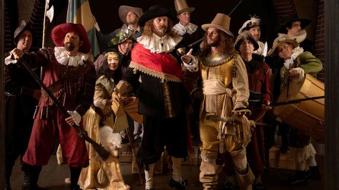 Varios golfistas recrearon 'La Ronda de Noche' de Rembrandt, Sergio,...
