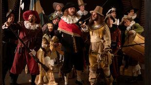 Varios golfistas recrearon 'La Ronda de Noche' de Rembrandt,...