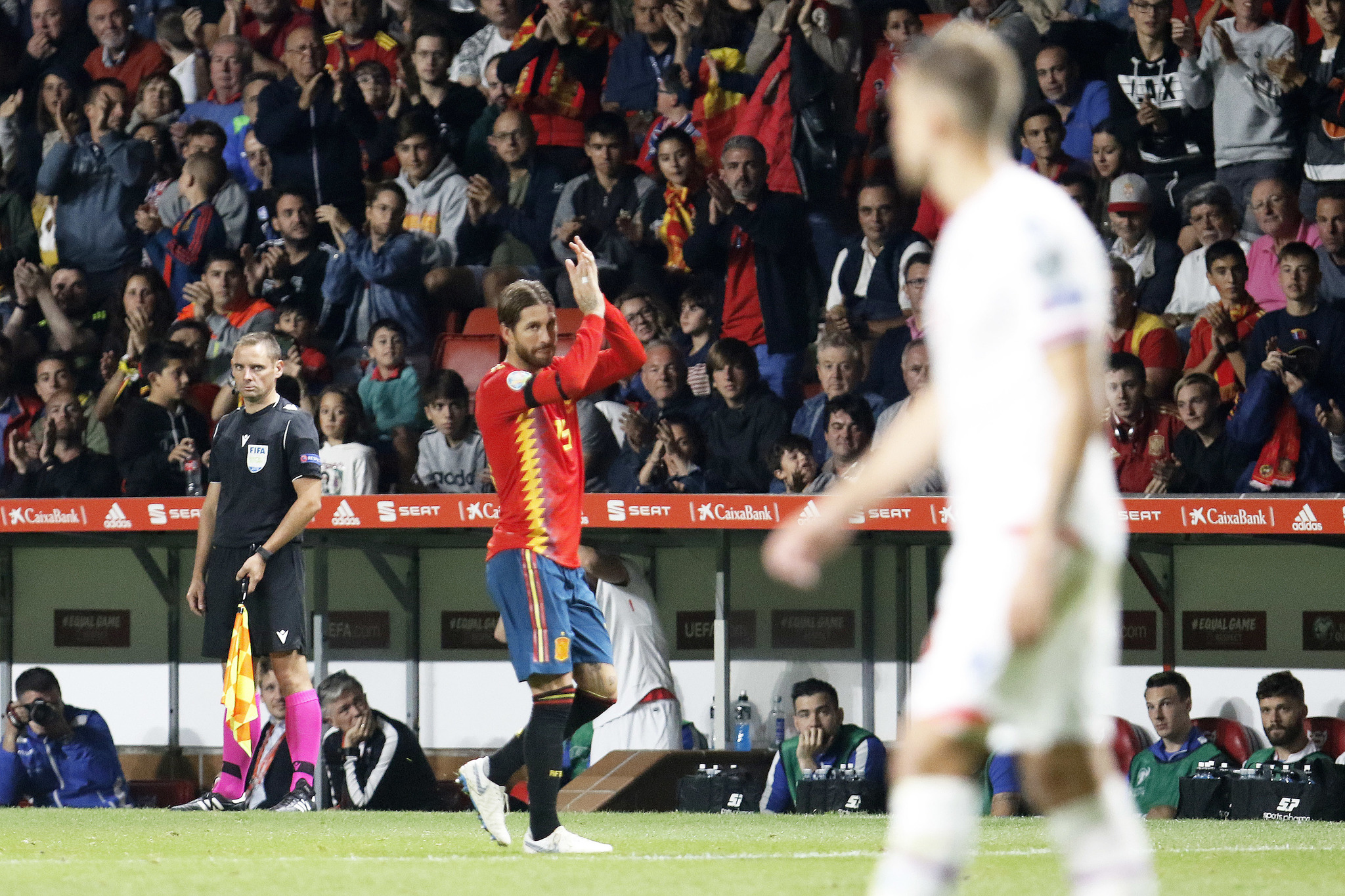 Sergio Ramos applauding the supporters during Spain's clash against...