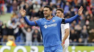 Jorge Molina celebrando un gol la pasada temporada