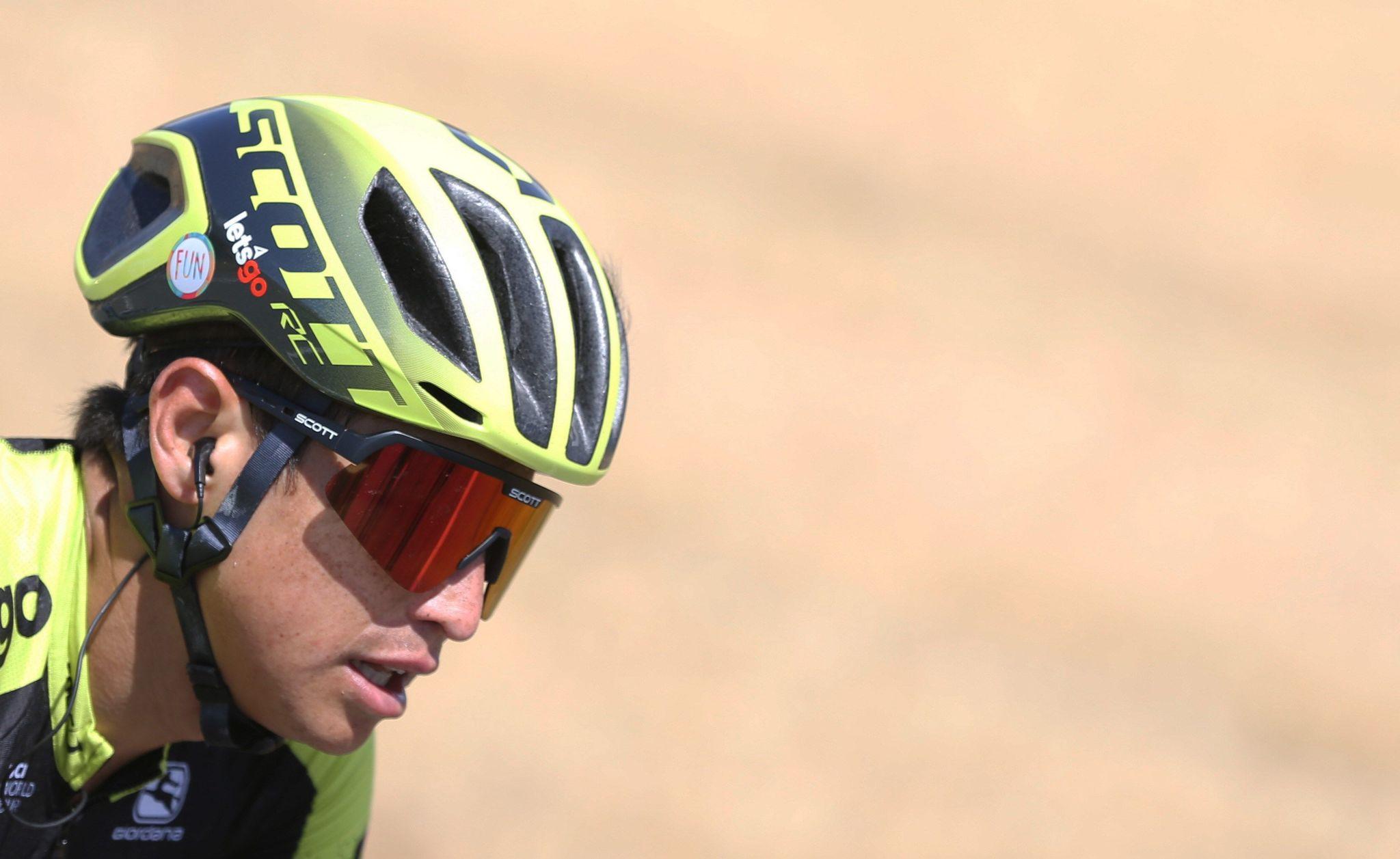 GRAF177. ATIENZA (GUADALAJARA), 11/09/2019.- El ciclista colombiano del equipo Mitchelton-Scott Esteban Cháves en el pelotón este miércoles durante la décimo séptima etapa de la <HIT>Vuelta</HIT> a España 2019, carrera con salida en la localidad de burgalesa de Aranda de Duero y meta en Guadalajara, con un recorrido de 219,6 kilómetros. EFE/ Javier Lizón