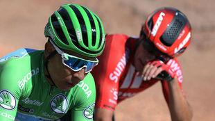 Nairo Quintana, metido en la escapada que hizo sufrir a Primoz Roglic.