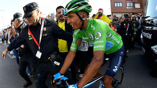 Nairo Quintana, durante al etapa.