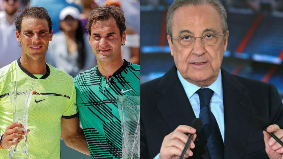 Rafa Nadal, Roger Federer and Florentino Perez.