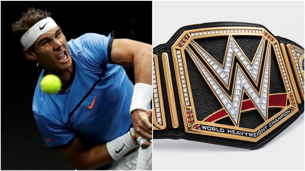 Nadal y el cinturón de campeón de la WWE