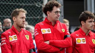 Binotto junto a Vettel y Leclerc, la seman pasada en Milán.