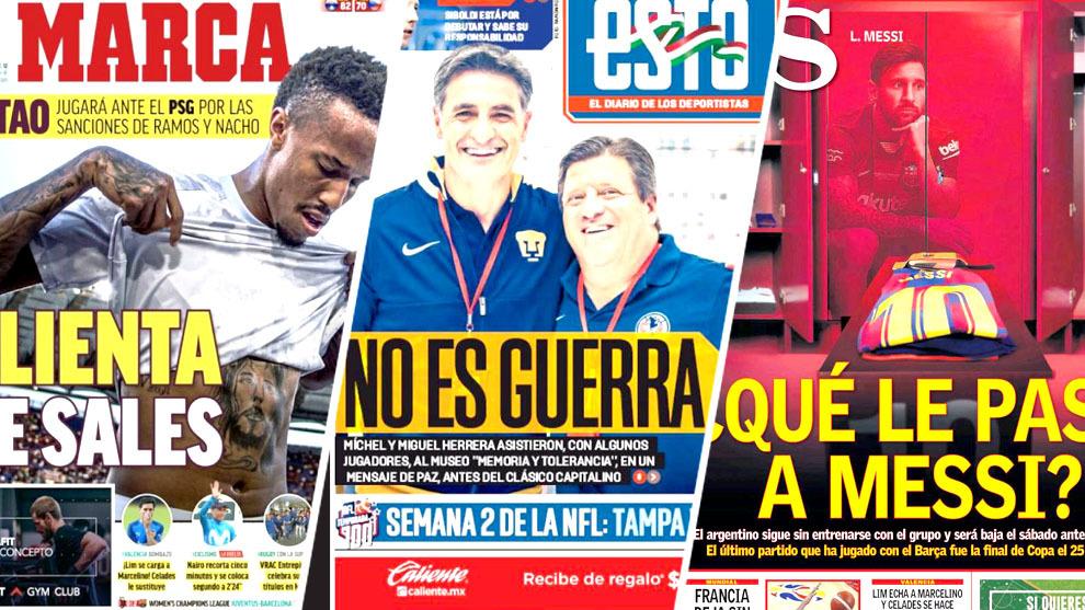 Ausencia de Messi y el Clásico Capitalino acaparan las portadas del...