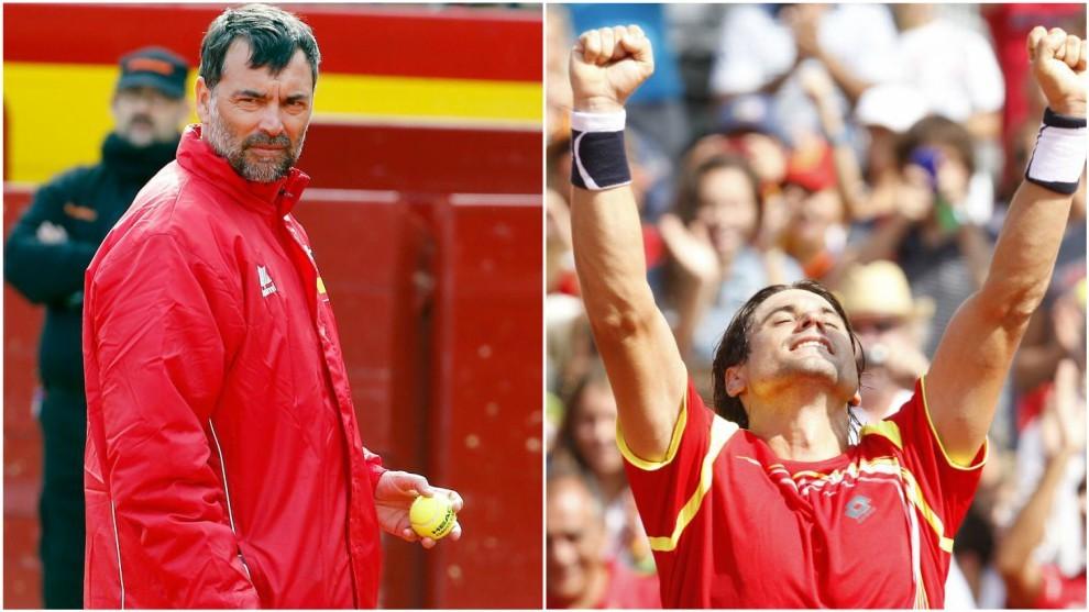 Bruguera y Ferrer, durante una Copa Davis