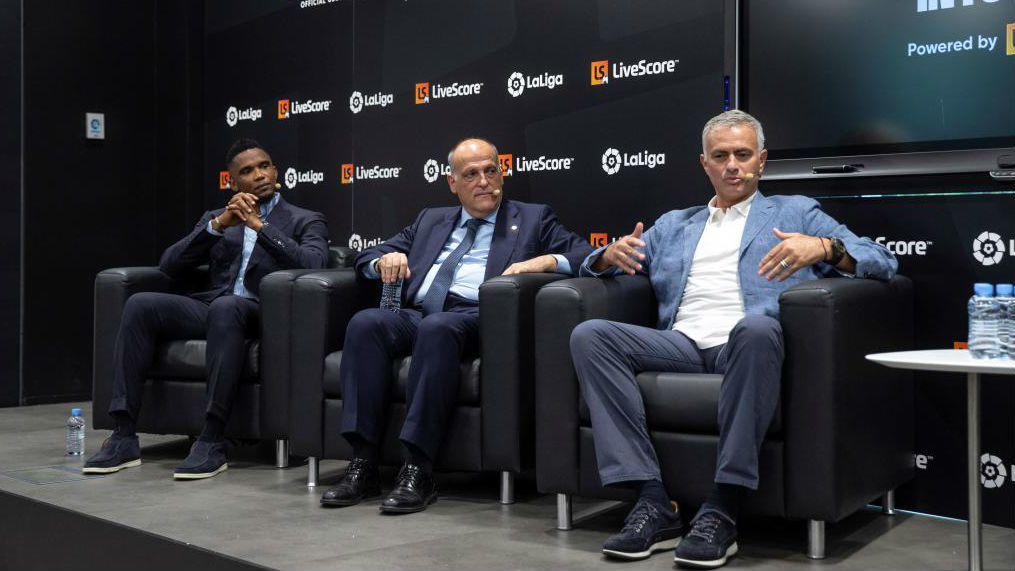 Eto'o, Tebas and Mourinho attended a Livescore event in Madrid.