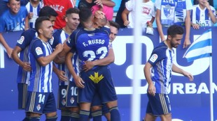 Jugadores de la Ponferradina celebrando un gol de Yuri.