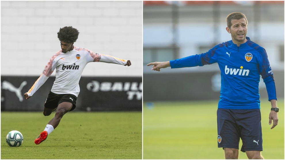 Thierry Correia, in two moments of this Thursday's training.