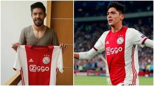 Oribe recibe un jersey del Ajax de Edson Álvarez.