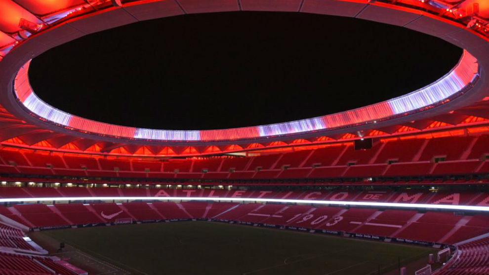 The Wanda Metropolitano lit up.