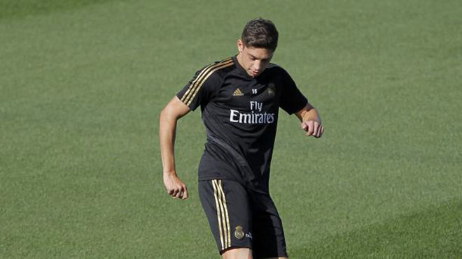 Fede Valverde during a Real Madrid training session.