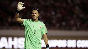 Keylor Navas, con su selección durante un partido amistoso frente a...