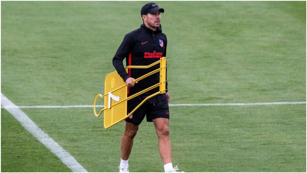 Diego Simeone during an Atletico Madrid training session.