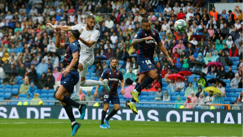 Karim Benzema heading in the opening goal.