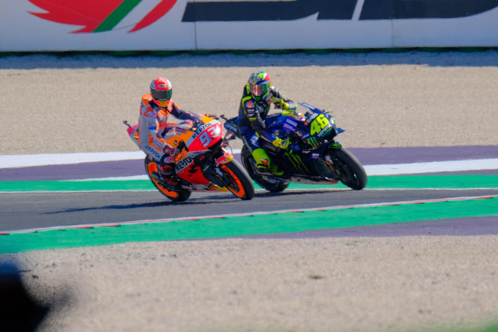 Misano Adriatico (Italy), 14/09/2019.- Spanish MotoGP rider, number 93, Marc <HIT>Marquez</HIT> (L), of the Repsol Honda Team and Italian MotoGP rider, number 46 Valentino <HIT>Rossi</HIT>, of the Yamaha Factory Racing in action during the free practice/qualifying session of the 2019 Motorcycling Grand Prix of San Marino and Riviera di Rimini at Misano Circuit in Misano Adriatico, Italy, 14 September 2019. (Motociclismo, Ciclismo, Italia) EFE/EPA/ALESSIO MARINI