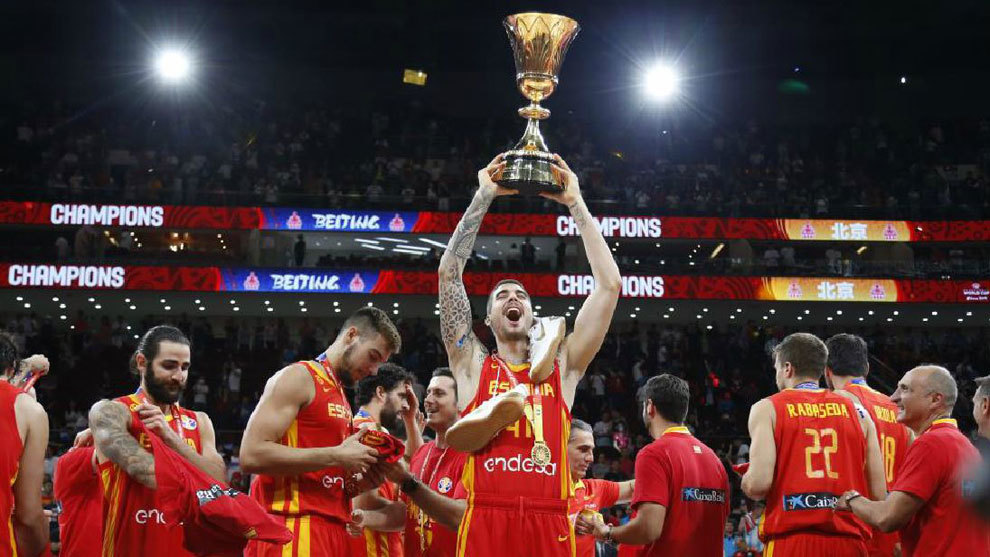 España Campeona del Mundo de Baloncesto. La selección celebra la...
