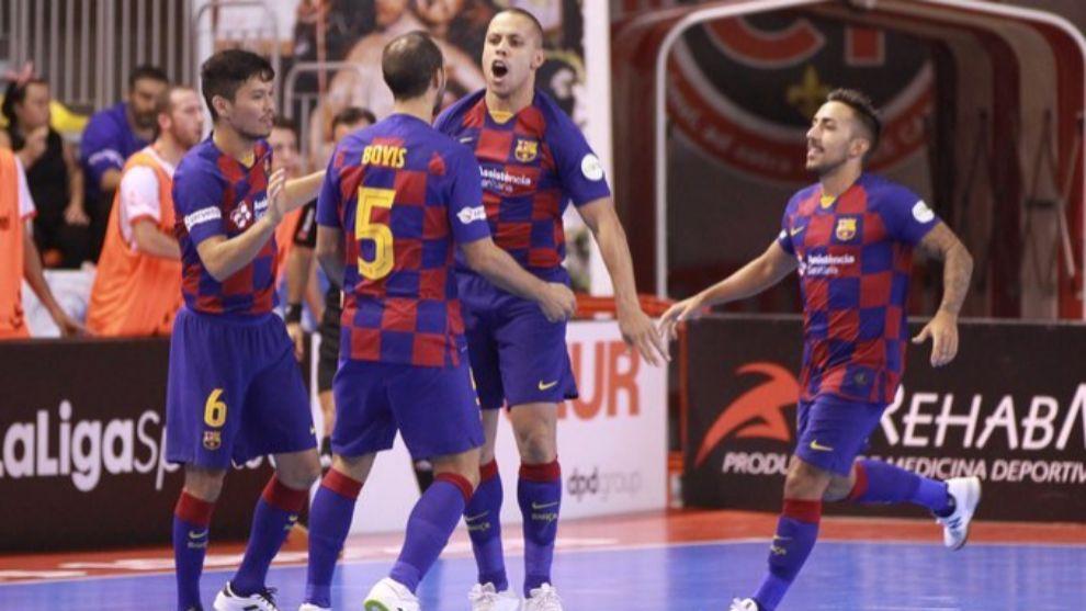 El Barça celebra uno de sus goles marcados al Jimbee Cartagena.