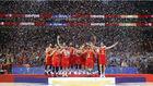 Los jugadores de la selección celebran la victoria en el Mundial