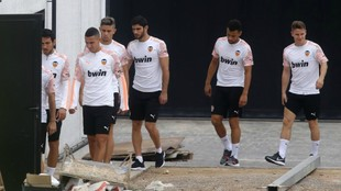 Valencia players heading to training on Sunday.