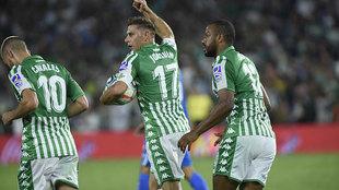Joaquín celebra su gol de penalti contra el Getafe.