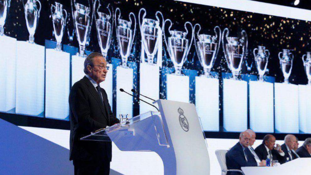 Florentino Pérez, durante la asamblea del Real Madrid