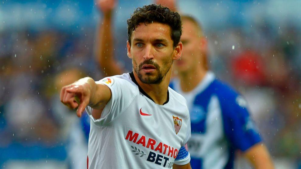 Jesus Navas, durante el partido contra el Alavés.