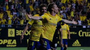 Álex celebra el gol anotado frente al Girona.