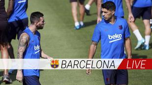 Messi y Suárez en un entrenamiento