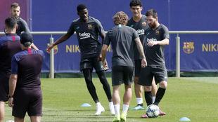 Messi, en una acción de la sesión.