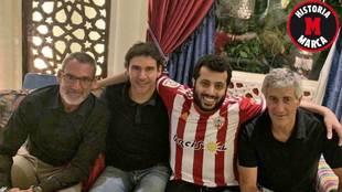 Jon Pascua, Aitor Karanka y Quique Setién junto al jeque Al-Sheikh