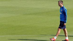 Celades este lunes en el entrenamiento del equipo en Paterna.