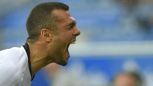 Jordan celebra su gol al Alavés.