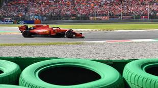 El Ferrari de Charles Leclerc, en Monza.