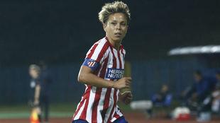 Amanda Sanpedro, capitana del Atlético de Madrid, durante un partido...
