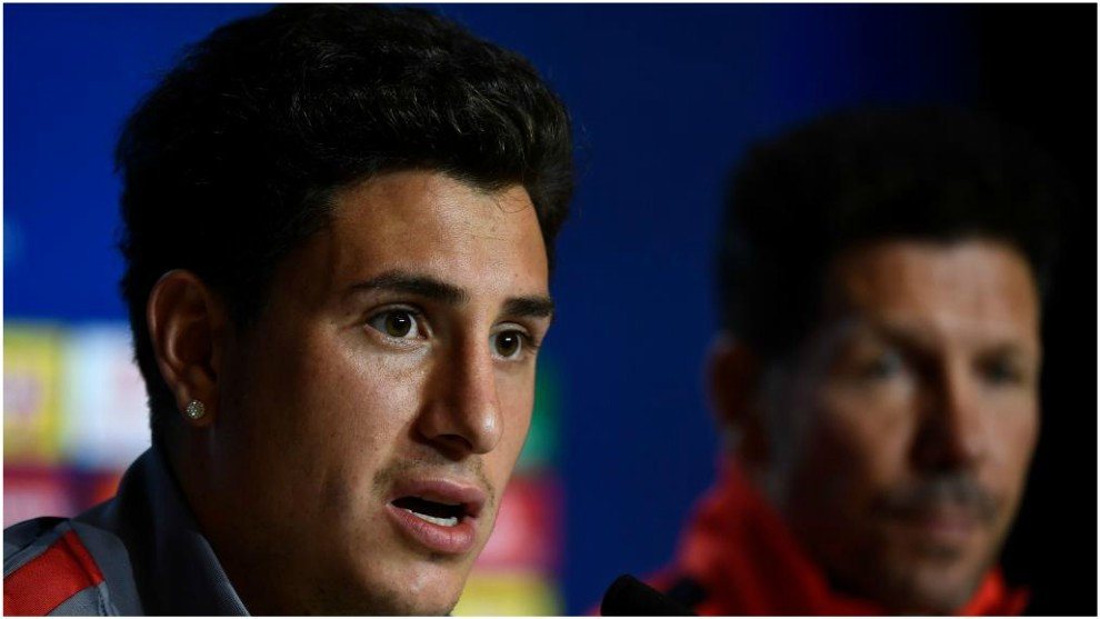 Jose Gimenez during Atletico Madrid's press conference.