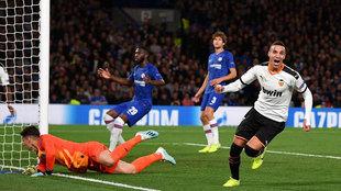 Rodrigo Moreno celebra el tanto de la victoria ante el Chelsea.